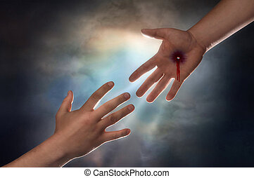 salvation - Hand of Christ reaching down from heaven to grab...