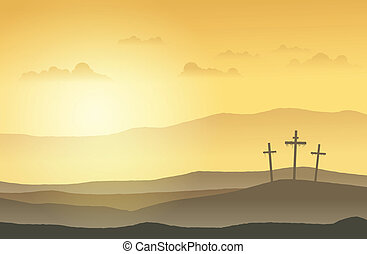 Salvation Land - Three crucifixion cross standing on top of...