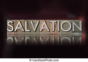 The word Salvation written in vintage letterpress type