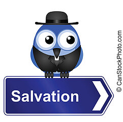 Salvation sign with clergyman isolated on white background