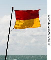 salvavidas, bandera, patrolled, área
