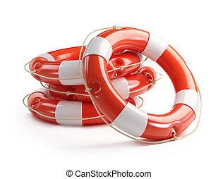 salvavidas, en, un, fondo blanco