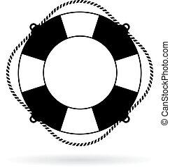 salvavidas, icono, anillo