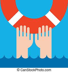 salvavidas, manos