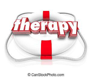 salvavidas, palabra, médico, rehabilitación, terapia, ...