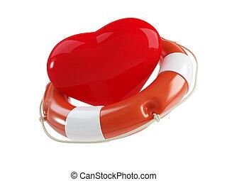 salvavidas, para, el corazón