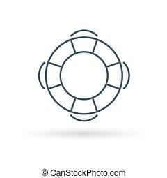 salvavidas, signo., símbolo., icon., salvador, boya