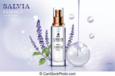 Salvia cosmetic ads, essence bottle with purple salvia and...