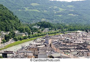 Salzach river and Salzburg Old Town