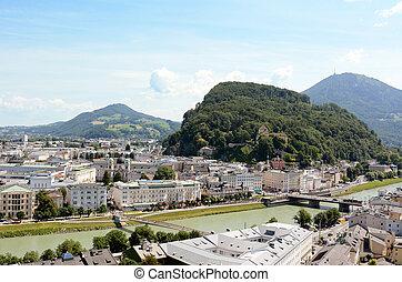 Salzach river flows through Salzburg city centre in Austria