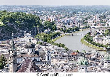 Salzach river on its way through Salzburg city, Austria