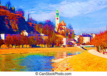 The Salzach river running through Salzburg, Austria. Artistic oil painting style with texture