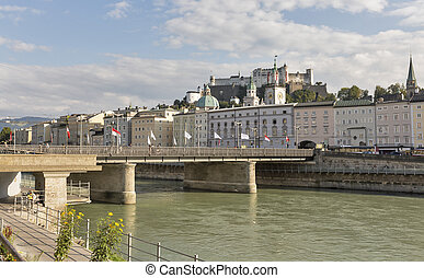Salzach river, Staatsbrucke bridge and fortress in Salzburg, Austria