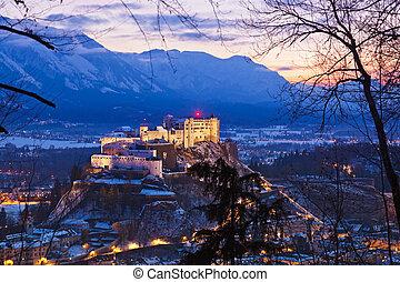 Salzburg and castle Hohensalzburg at sunset - Austria