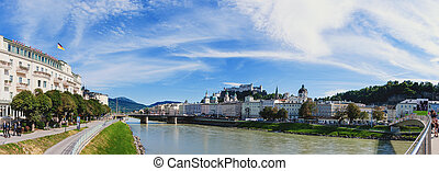Salzburg, Austria 08.28.2012. View of Salzburg with the fortress wall in a Sunny summer day