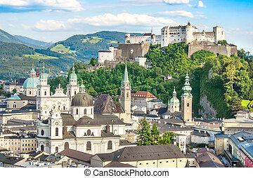 Beautiful view of the historic city of Salzburg with Festung Hohensalzburg in summer, Salzburger Land, Austria