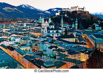 salzburg, austria cityscape,