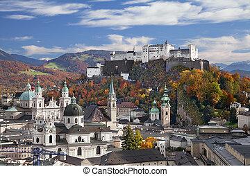 Salzburg, Austria. - Image of Salzburg during sunny autumn...