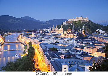 Image of Salzburg during twilight blue hour.