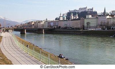Salzburg, Austria - Salzburg's famous old town and Salzach...
