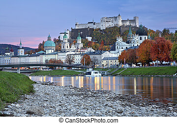 Salzburg, Austria. - Image of Salzburg during twilight blue...
