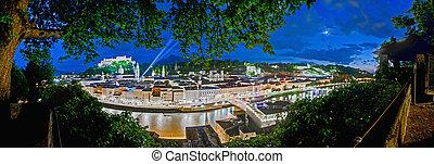 salzburg, capuchin, ponto vista, skyline, áustria, mosteiro, visto, (kapuzinerkloster)