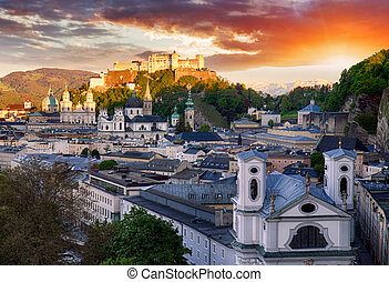 Salzburg Skyline At Sunset Austria