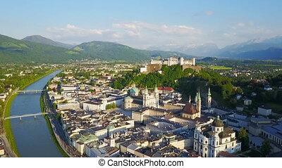 Salzburg city aerial view