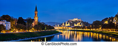 Salzburg city evening panorama