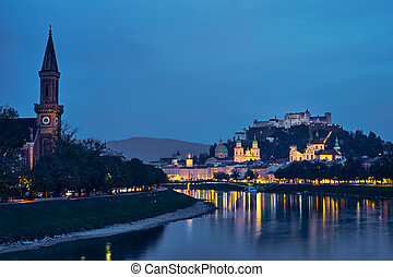 Salzburg city evening view