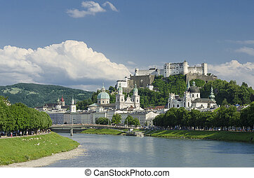 International festival city for classical music, birthplace of Mozart. Panorama view of Salzburg fortress, churches and the the old town.
