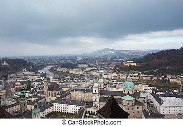 Salzburg cityscape in winter