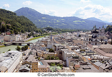 Salzburg cityscape - Salzach river and Old Town