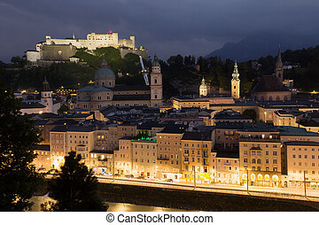 Salzburg in the night - Aerial view of Salzburg in the nigh...