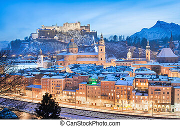Salzburg in winter, Austria - Beautiful view of the historic...