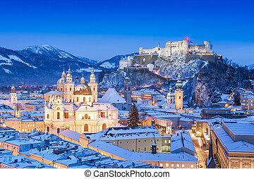 Beautiful view of the historic city of Salzburg with Festung Hohensalzburg in winter, Salzburger Land, Austria