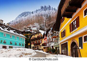 salzburg, -, lago, áustria, vila, hallstatt