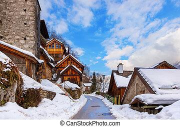 salzburg, -, lago, austria, aldea, hallstatt
