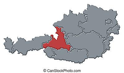 salzburg, mapa, austria, highlighted