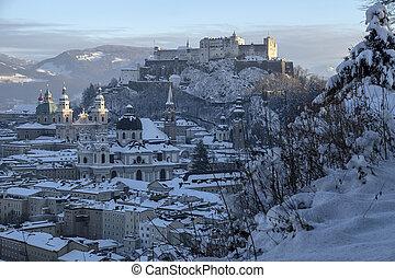 Salzburg old city in winter and snow, Austria - Salzburg old...