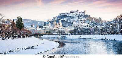 Salzburg skyline in winter, Austria