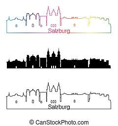 Salzburg skyline linear style with rainbow.eps