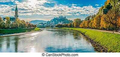 Salzburg skyline with fortress in autumn, Salzburger Land, Austria
