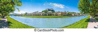 Salzburg skyline with Fortress in spring, Salzburger Land, Austria