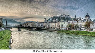 Salzburg skyline with river Salzach in Salzburger Land, Austria
