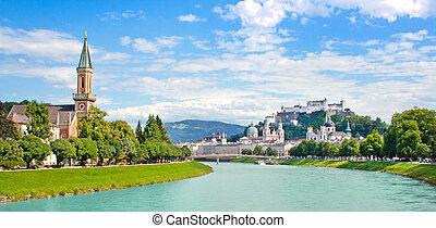 Salzburg skyline with river Salzach
