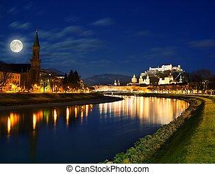 salzburg, stad, night., aanzicht