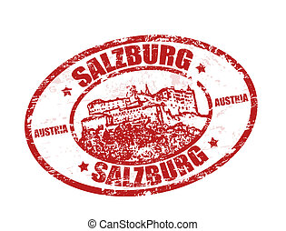 Red grunge rubber stamp with castle shape and the name of Salzburg written inside the stamp