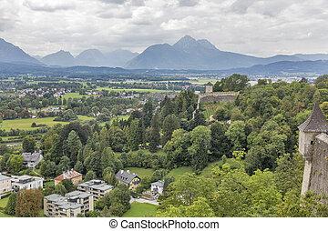 Salzburg suburb cityscape view from fortress Hohensalzburg