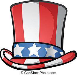 sam, cima, americano, zio, cappello, cartone animato